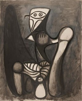 Pablo Picasso, Chouette sur une chaise, January 15, 1947 Oil on canvas, 39 ¼ × 32 inches (100 × 81 cm)© 2010 Estate of Pablo Picasso/Artists Rights Society (ARS), New York