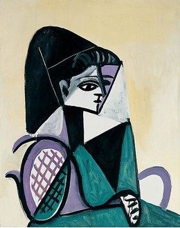 Pablo Picasso, Portrait de femme à la robe verte, May 1, 1956 Oil on canvas, 36 × 28 ¾ inches (91.5 × 73 cm)© 2010 Estate of Pablo Picasso/Artists Rights Society (ARS), New York