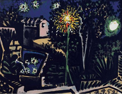 Pablo Picasso, Paysage à Vallauris, la nuit, September 7, 1952 Oil on canvas, 20 ¼ × 26 ¼ inches (51.2 × 66.6 cm)© 2010 Estate of Pablo Picasso/Artists Rights Society (ARS), New York