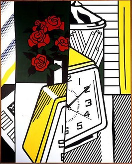 Roy Lichtenstein, Still Life with Clock and Roses, 1975 Oil and Magna on canvas, 60 × 48 inches (152.4 × 121.9 cm)© Estate of Roy Lichtenstein