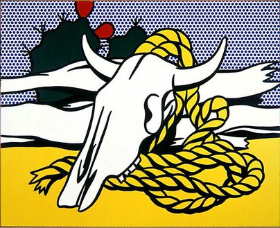 Roy Lichtenstein, Still Life with Cow's Skull, 1972 Oil and Magna on canvas, 42 × 52 inches (106.7 × 132.1 cm)© Estate of Roy Lichtenstein