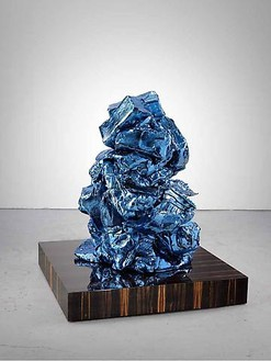 Anselm Reyle, Untitled, 2009 Bronze, chrome optics, patina, and plinth with Makassar ebony veneer, 46 ½ × 39 ⅜ × 39 ⅜ inches (118.1 × 100 × 100 cm), 1 of 8 unique versions© Anselm Reyle
