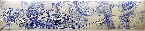 Takashi Murakami, Dragon in Clouds – Indigo Blue, 2010 Acrylic on canvas mounted on board, 11 feet 11 inches × 59 feet (3.63 × 18 m)© Takashi Murakami/Kaikai Kiki Co., Ltd. All rights reserved