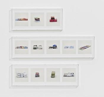 Taryn Simon, SHIRTS, LACOSTE (COUNTERFEIT), SHIRTS, RALPH LAUREN (COUNTERFEIT), SHIRTS, MISC. (COUNTERFEIT), 2010 12 archival inkjet prints in 3 Plexiglas boxes, Box 1: 9 ¼ × 22 ¾ × 2 ½ in (23.5 × 57.8 × 6.4cm); Box 2: 9 ¼ × 37 ¼ × 2 ½ in (23.5 × 94.6 × 6.4cm); Box 3: 9 ¼ × 30 × 2 ½ in (23.5 × 76.2 × 6.4cm), edition of 4Photo by Douglas M. Parker Studio