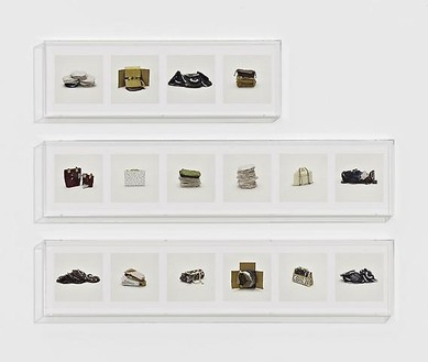 Taryn Simon, HANDBAGS, LOUIS VUITTON (COUNTERFEIT), 2010 16 archival inkjet prints in 3 Plexiglas boxes, Box 1 & 2: 9 ¼ × 44 ½ × 2 ½ inches (23.5 × 113 × 6.4cm); Box 3: 9 ¼ × 30 × 2 ½ inches (23.5 × 76.2 × 6.4cm), edition of 4Photo by Douglas M. Parker Studio