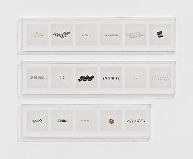 Taryn Simon, WATCHES (COUNTERFEIT), 2010 17 archival inkjet prints in 3 Plexiglas boxes, Box 1 & 2: 9 ¼ × 44 ½ × 2 ½ inches (23.5 × 113 × 6.4cm); Box 3: 9 ¼ × 37 ¼ × 2 ½ inches (23.5 × 94.7 × 6.4cm), edition of 4Photo by Douglas M. Parker Studio