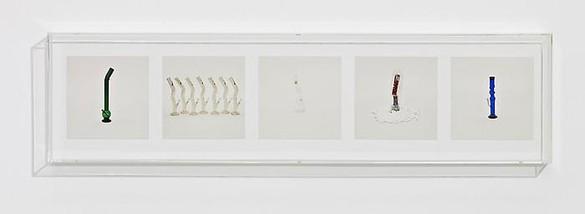Taryn Simon, BONGS (ILLEGAL), 2010 5 archival inkjet prints in 1 Plexiglas box, 9 ¼ × 37 ¼ × 2 ½ inches (23.5 × 94.6 × 6.4cm), edition of 4Photo by Douglas M. Parker Studio