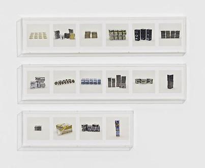 Taryn Simon, TELEVISION SERIES (PIRATED), 2010 16 archival inkjet prints in 3 Plexiglas boxes, Box 1 & 2: 9 ¼ × 44 ½ × 2 ½ inches (23.5 × 113 × 6.4cm); Box 3: 9 ¼ × 30 × 2 ½ inches (23.5 × 76.2 × 6.4cm), edition of 4Photo by Douglas M. Parker Studio