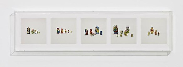 Taryn Simon, NESTING DOLLS (COUNTERFEIT), 2010 5 archival inkjet prints in 1 Plexiglas box, 9 ¼ × 37 ¼ × 2 ½ inches (23.5 × 94.6 × 6.4cm), edition of 4Photo by Douglas M. Parker Studio