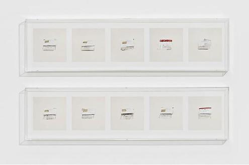 Taryn Simon, U.S. CURRENCY (INCIDENTAL TO ARREST), 2010 10 archival inkjet prints in 2 Plexiglas boxes, Box 1 & 2: 9 ¼ × 37 ¼ × 2 ½ inches (23.5 × 94.7 × 6.4cm), edition of 4Photo by Douglas M. Parker Studio