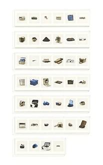 Taryn Simon, KHAT (ILLEGAL), 2010 40 archival inkjet prints in 7 Plexiglas boxes, Box 1-6: 9 ¼ × 44 ½ × 2 ½ inches (23.5 × 113 × 6.4cm); Box 7: 9 ¼ × 30 × 2 ½ inches (23.5 × 76.2 × 6.4cm), edition of 4Photo by Douglas M. Parker Studio