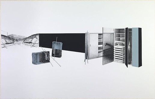 Tatiana Trouvé, Untitled (from the series 'Intranquility'), 2010 Crayon on paper mounted on canvas, 60 × 14 × 94 ½ inches (153 × 240 cm)