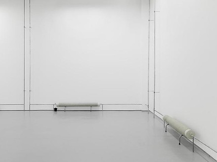 Tatiana Trouvé, Untitled (Radiators), 2010 Concrete and metal, in four parts, Two Parts at 6 × 6 × 74 inches (15 × 15 × 188 cm) + two parts at 6 × 6 × 51 ⅛ inches (15 × 15 × 130 cm)