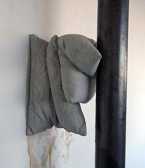 Tatiana Trouvé, Untitled (Cushion N°2), 2010 Concrete and metal column, Concrete element: 13 ¾ × 15 ¾ × 13 inches (35 × 40 × 33 cm), Metal Column: 118 × 4 ¾ × 4 ¾ inches (300 × 12 × 12 cm)