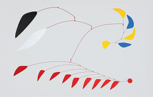 Alexander Calder, Blue and Yellow Sickles, 1960 Painted sheet metal and steel wire, 32 × 60 inches (81.3 × 152.4 cm)