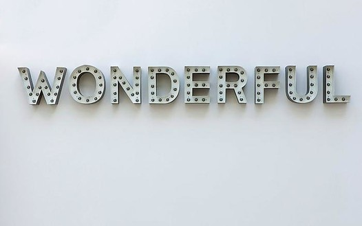 Carsten Höller, Wonderful, 2008 (view with lights off) Aluminum channel letters, bulbs, and DMX controller, 10 ¾ × 98 ½ × 4 inches (27.3 × 250.2 × 10.2 cm)© Carsten Höller