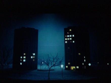 Pierre Huyghe, Les grandes ensembles, 2001 (film still) VistaVision film transferred to Digital Betacam, ink on transparency, and light box; video: color, sound, 7:51 minutes© Pierre Huyghe