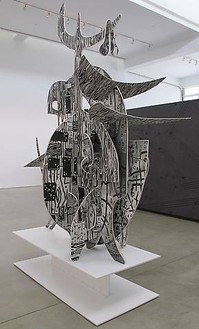 Aaron Curry, Snowblind, 2011 Silkscreen on wood with aluminum base, 120 ½ × 92 ¾ × 45 inches overall (306.1 × 235.6 × 114.3 cm)Photo by Ben Lee Handler