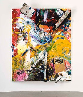 Dan Colen, Cherry Oh Baby, 2011 Trash and paint on canvas, 115 ⅝ × 85 × 11 ⅜ inches, (293.5 × 216 × 29cm)Photo by Giorgio Benni
