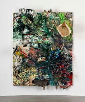 Dan Colen, The Women's Movement / Crazy Mamma, 2011 Trash and paint on canvas, 111 ⅜ × 85 13/16 × 17 11/16 inches, (283 × 218 × 45cm)Photo by Giorgio Benni