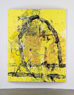 """Dan Colen, """"What is wanted is some secret feeling of an administrator, a sort of intendant to whom the important tasks may be entrusted so as to leave you free for the very necessary task of idleness that is a condition, the condition, of your being"""", 2011 Trash and paint on canvas, 121 × 97 × 9 ⅝ inches, (307.3 × 246.4 × 24.5cm)Photo by Giorgio Benni"""
