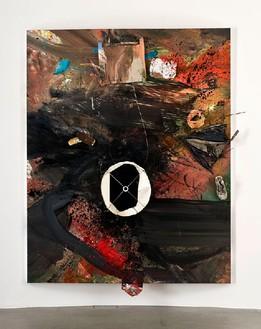 Dan Colen, Memory Motel, 2011 Trash and paint on canvas, 126 × 103 ⅞ × 14 ⅜inches, (320 × 264 × 36.5cm)Photo by Giorgio Benni