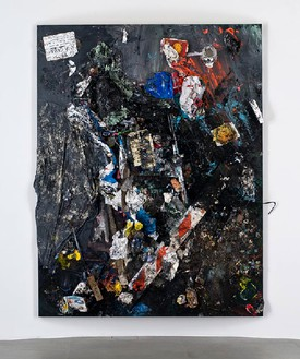 """Dan Colen, """"She doesn't want to talk about love she says she just wants to make love but she talks about it almost endlessly"""", 2011 Trash and paint on canvas, 126 × 102 13/16 × 7 ⅞ inches, (320 × 261 × 20cm)Photo by Giorgio Benni"""