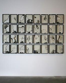 Douglas Gordon, Burnt Scores, 2011 k.364 music score and mirror, 54 ⅛ × 84 ¼ inches (137.5 × 214 cm)© Studio lost but found/VG Bild-Kunst, Bonn 2011
