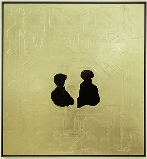 Ellen Gallagher, IGBT, 2008 Gesso, gold leaf, ink, varnish and cut paper on paper, 79 ½ × 74 inches (201.9 × 188 cm)