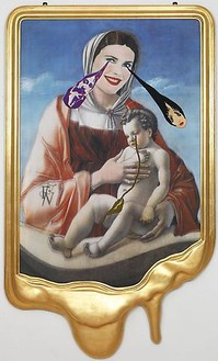 Francesco Vezzoli, CRYING PORTRAIT OF CHRISTIE BRINKLEY AS A RENAISSANCE MADONNA WITH HOLY CHILD (AFTER GIOVANNI BELLINI), 2010 Inkjet print on canvas, cotton and metallic embroidery, fabric, custom jewelry, watercolor, make-up & artist's frame, 88 × 53 × 4 inches (223.5 × 134.6 × 10.2 cm)