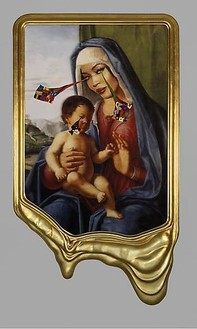 Francesco Vezzoli, CRYING PORTRAIT OF NAOMI CAMPBELL AS A RENAISSANCE MADONNA WITH HOLY CHILD (AFTER CIMA DA CONEGLIANO), 2010 Inkjet print on canvas, cotton and metallic embroidery, fabric, custom jewelry, watercolor, make-up & artist's frame, 93 × 53 × 4 ½ inches (236.2 × 134.6 × 11.4 cm)