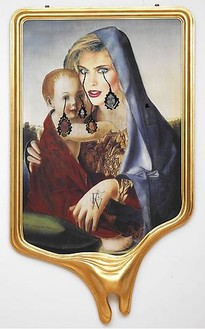 Francesco Vezzoli, CRYING PORTRAIT OF KIM ALEXIS AS A RENAISSANCE MADONNA WITH HOLY CHILD (AFTER GIOVANNI BELLINI), 2010 Inkjet print on canvas, cotton and metallic embroidery, fabric, custom jewelry, watercolours, make-up & artist's frame, 94 ½ × 51 3/16 × 7 ⅞ inches (240 × 130 × 20 cm)
