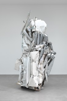 John Chamberlain, WETSTARESCORT, 2011 Painted and chrome-plated steel, 138 ½ × 85 ¼ × 75 inches (351.8 × 216.5 × 190.5 cm)© Fairweather & Fairweather LTD/Artists Rights Society (ARS), New York