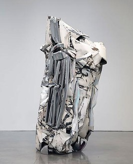 John Chamberlain, SUPERJUKE, 2011 Painted and chrome-plated steel, 117 × 72 ½ × 63 ¼ inches (297.2 × 184.2 × 160.7 cm)© Fairweather & Fairweather LTD/Artists Rights Society (ARS), New York