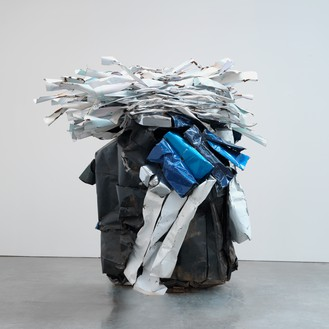 John Chamberlain, AWESOMEMEATLOAF, 2011 Painted and chrome-plated steel, 106 × 118 ¾ × 82 inches (269.2 × 301.6 × 208.3 cm)© Fairweather & Fairweather LTD/Artists Rights Society (ARS), New York