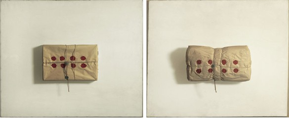 Piero Manzoni, Achrome, 1962 Two packages in wrapping paper, 27 ⅝ × 33 ½ inches each (70 × 85 cm)