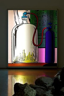 Mike Kelley, Lenticular 10, 2010 Lenticular panel, light box, 51 15 1/6 × 45 ¾ × 3 ½ inches (129.5 × 0.4 × 116.2 cm), edition of 5Photo by Fredrik Nilsen