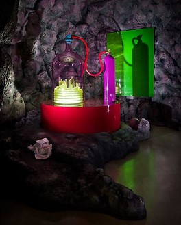 Mike Kelley, Kandor 10 A, 2010 (detail) Foam coated with Elastomer blown glass with water based resin coating, wood, Enamel Urethane rubber, acrylic paint, lighting fixtures, clothing and Lenticular 10, 11 × 16 × 12 feet overall (3.4 × 4.9 × 3.7 m)Photo by Fredrik Nilsen