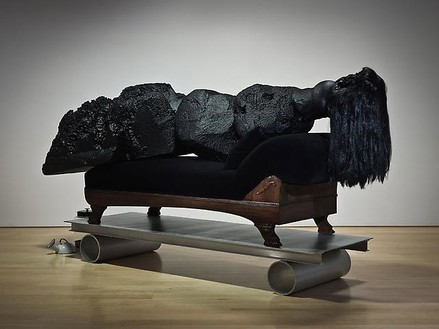 Mike Kelley, Odalisque, 2010 Foam coated with Elastomer, wood, aluminum, wig, found objects, velvet, cotton batting, 56 × 115 × 30 inches overall (142.2 × 292.1 × 76.2 cm)Photo by Fredrik Nilsen
