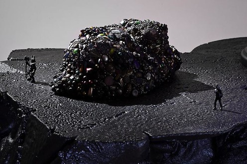 Mike Kelley, Kandor 19 B, 2010 (detail) Foam coated with Elastomer, blown glass with water-based resin coating, tinted Urethane resin, wood, found objects, lighting fixture, 31 ½ × 49 × 43 inches overall (80 × 124.5 × 109.2 cm)Photo by Fredrik Nilsen