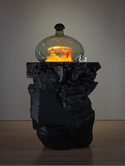 Mike Kelley, Kandor 18B, 2010 Foam coated with Elastomer, blown glass with water-based resin coating, tinted Urethane resin, wood, found objects, lighting fixture, 87 × 36 × 48 inches (221 × 91.4 × 121.9 cm)Photo by Fredrik Nilsen