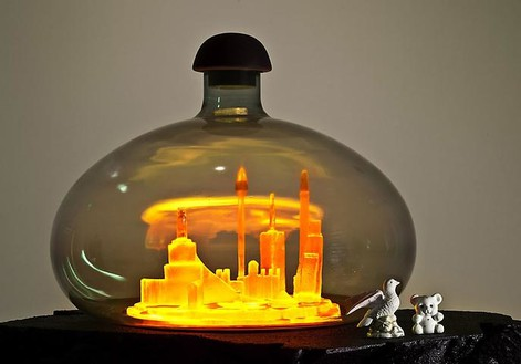 Mike Kelley, Kandor 18B, 2010 (detail) Foam coated with Elastomer, blown glass with water-based resin coating, tinted Urethane resin, wood, found objects, lighting fixture, 87 × 36 × 48 inches (221 × 91.4 × 121.9 cm)Photo by Fredrik Nilsen