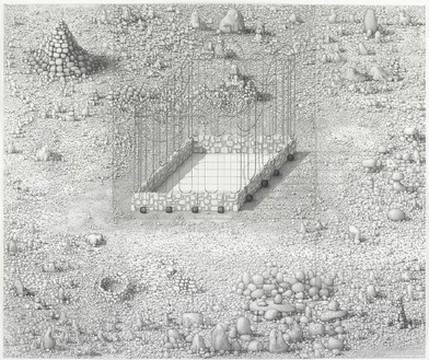 Paul Noble, Family is Infinity (or, Hard Labour), 2009–10 Pencil on paper, 3 panels: 54 5/16 × 65 inches overall (138 × 165 cm)