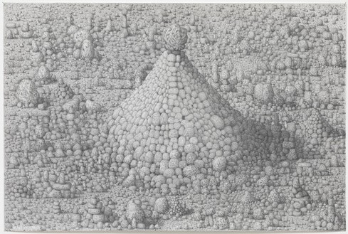 Paul Noble, Cathedral, 2011 Pencil on paper, 19 ⅞ × 30 inches (50.5 × 76.3 cm)