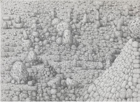 Paul Noble, Cathedral, 2011 (detail) Pencil on paper, 19 ⅞ × 30 inches (50.5 × 76.3 cm)