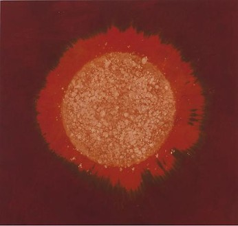 Piotr Uklański, Untitled (Atomic Ovum), 2010 Fiber-active dye on oxidized cotton textile stretched over cotton canvas, 88 ⅞ × 93 ¾ inches (225.7 × 238.1 cm)