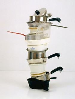 Robert Therrien, No title (Mini stacked pots and pans IV, crème brûlée), 2005 Metal and plastic, 13 ½ × 12 × 12 inches (34.3 × 30.5 × 30.5 cm)© Robert Therrien, photo by Josh White