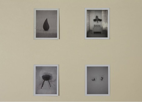 Robert Therrien, No title (Drop, sawing log, BBQ, running feet), 1992–2001 Four black and white Polaroids, 3 ½ × 4 ¼ inches each (8.9 × 10.8 cm)© Robert Therrien, photo by Josh White