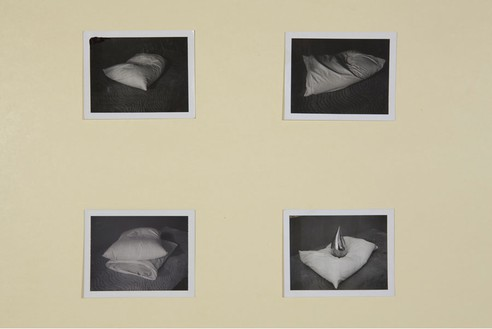 Robert Therrien, No title (Pillow and teardrop), 2001 Four black and white Polaroids, 3 ½ × 4 ¼ inches each (8.9 × 10.8 cm)© Robert Therrien, photo by Josh White