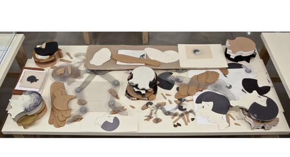 Robert Therrien, No title (Joyce templates and Joyce vitrine), 1985–2011 Mixed media, Vitrine: 8 × 84 × 39 ¼ inches (20.3 × 213.4 × 99.7 cm)© Robert Therrien, photo by Josh White